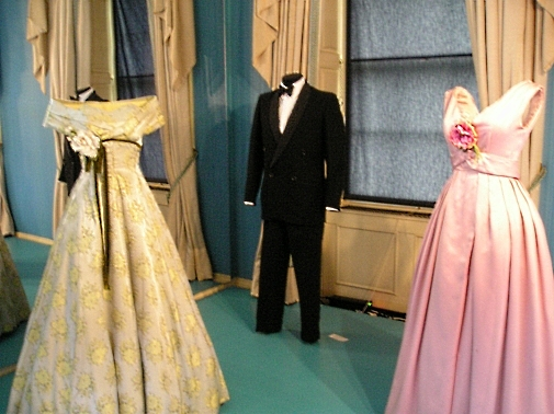 display of 1950s formal dresses in England museum