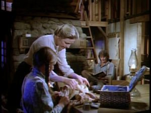 Karen Grassle and Melissa Gilbert on Little House on the Prairie