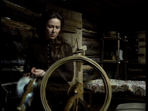 Karen Grassle plays Caroline Ingalls spinning wool on Little House on the Prairie