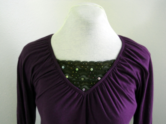 modest clothing - v-neck with lace insert