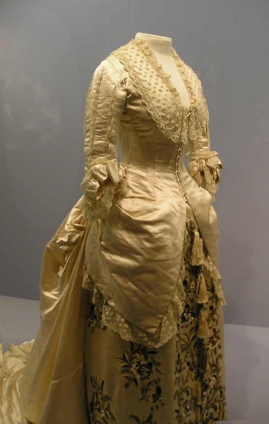 Victorian silk evening gown