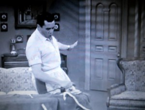 "Desi Arnaz irons a shirt in I Love Lucy's ""Job Switching"" episode"